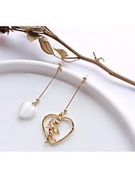 baratos -Mulheres Escultura Brincos Compridos Brincos em Argola - Coração, Anjo Romântico, Doce, Fashion Branco / Rosa claro Para Presente Encontro