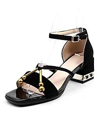 povoljno -Žene Cipele Brušena koža Ljeto Udobne cipele Sandale Kockasta potpetica Crn / Braon