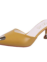 cheap -Women's Shoes PU(Polyurethane) Spring & Summer Slingback Clogs & Mules Kitten Heel Pointed Toe Black / Beige / Yellow