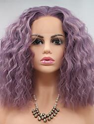 Недорогие -Синтетические кружевные передние парики Кудрявый Короткий Боб / тесьма 130% Человека Плотность волос Искусственные волосы 14 дюймовый Женский Фиолетовый Парик Жен. Короткие Лента спереди / Да