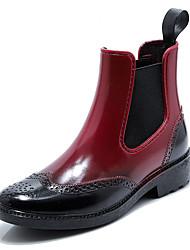 Недорогие -Жен. Резиновые сапоги ПВХ Наступила зима Ботинки На низком каблуке Круглый носок Ботинки Черный / Коричневый / Красный