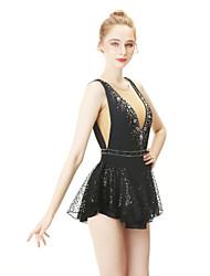 cheap -Figure Skating Dress Women's / Girls' Ice Skating Dress Black Spandex High Elasticity Professional Skating Wear Fashion Sleeveless Ice Skating / Winter Sports / Figure Skating