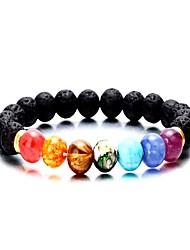 abordables -Femme Pierre volcanique Agate Stylé Perles Bracelets de rive - Bouddha Mode, Coloré Bracelet Arc-en-ciel Pour Quotidien Anniversaire