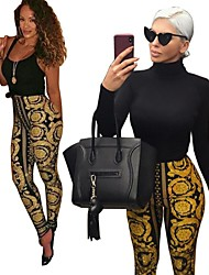 cheap -Women's Sexy Yoga Pants - Yellow Sports Print Tights / Leggings Running, Fitness, Workout Activewear Soft, Butt Lift, Tummy Control High Elasticity Skinny, Slim