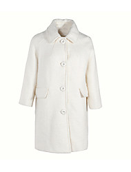 cheap -Women's Cotton Coat - Solid Colored Shirt Collar
