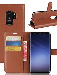 baratos -Capinha Para Samsung Galaxy S9 Plus / S9 Carteira / Porta-Cartão / Com Suporte Capa Proteção Completa Sólido Rígida PU Leather para S9 / S9 Plus / S8 Plus