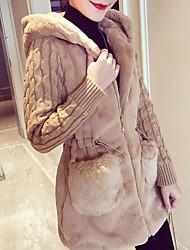 Недорогие -Жен. Пальто Классический / Уличный стиль - Однотонный Пэчворк