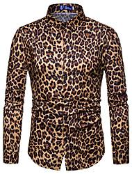 Недорогие -Муж. Для клуба Рубашка Воротник-визитка Леопард Белый / Длинный рукав / Весна / Осень