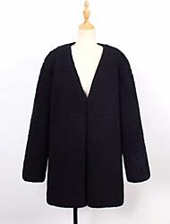 baratos -casaco de pele solta de peles artificiais longas das mulheres - sólido colorido v pescoço