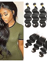 billiga -4 paket med stängning Malaysiskt hår Kroppsvågor Remy-hår Hårförlängningar av äkta hår / Hår Inslag med Stängning 8-26 tum Naturlig Hårförlängning av äkta hår 4x4 Stängning Mjuk / Bästa kvalitet / Ny