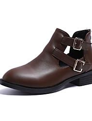 Недорогие -Жен. Fashion Boots Полиуретан Осень На каждый день Ботинки На толстом каблуке Ботинки Черный / Хаки