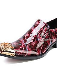 Недорогие -Муж. Печать Оксфорд Наппа Leather Осень Английский Туфли на шнуровке Нескользкий Красный / Для вечеринки / ужина