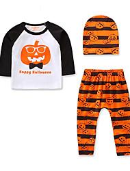 Недорогие -малыш Мальчики На каждый день / Активный Повседневные / Праздники С принтом / Halloween С принтом Длинный рукав Обычный Набор одежды Оранжевый / Дети (1-4 лет)