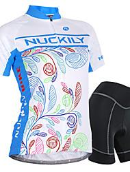 Недорогие -Nuckily Жен. С короткими рукавами Велокофты и велошорты - Синий геометрический / Цветочные / ботанический Велоспорт Шорты / Джерси / Наборы одежды, Водонепроницаемость, 3D-панель, Дышащий / Спандекс