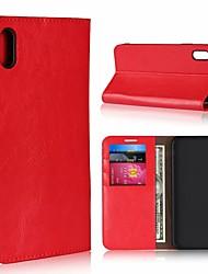 Недорогие -Кейс для Назначение Apple iPhone XR / iPhone XS Max Бумажник для карт / со стендом Чехол Однотонный Твердый Настоящая кожа для iPhone XS / iPhone XR / iPhone XS Max