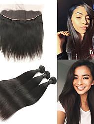 Недорогие -3 комплекта с закрытием Индийские волосы Прямой 10A человеческие волосы Remy Накладки из натуральных волос Волосы Уток с закрытием 8-26 дюймовый Ткет человеческих волос 4X13 Закрытие