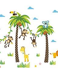 Недорогие -Декоративные наклейки на стены - Простые наклейки / Наклейки для животных Животные / Цветочные мотивы / ботанический Детская / Влажная чистка
