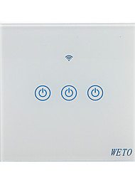 Недорогие -weto w-t13 eu / us / cn 3 gang wifi smart wall switch сенсорный сенсорный переключатель умный домашний пульт дистанционного управления работает с alexa google home через смартфон