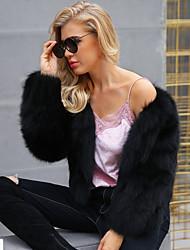 baratos -Mulheres Casaco de Pêlo Sofisticado - Sólido