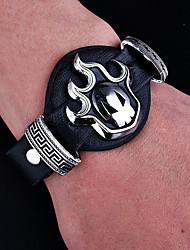 Недорогие -Муж. Старинный Браслет ID Кожаные браслеты - Кожа Череп Панк, Хип-хоп Браслеты Бижутерия Черный Назначение Halloween Подарок