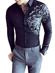 Недорогие -Муж. Офис Рубашка Классический воротник Тонкие Контрастных цветов / Длинный рукав