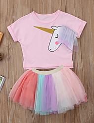 cheap -Kids Girls' Color Block / Cartoon Short Sleeve Clothing Set