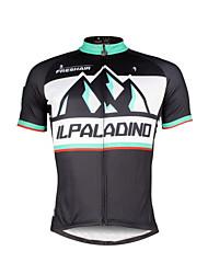 Недорогие -ILPALADINO Муж. С короткими рукавами Велокофты - Черный Мода Велоспорт Джерси Верхняя часть, Дышащий Быстровысыхающий Ультрафиолетовая устойчивость 100% полиэстер / Эластичная / Впитывает пот и влагу