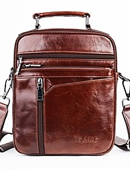 Недорогие -мужские сумки nappa кожаные наплечные сумки сплошной цвет коричневый