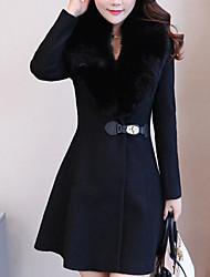 olcso -Utcai sikk Női Kabát - Egyszínű
