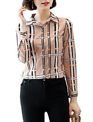 Недорогие -Жен. Офис Большие размеры - Рубашка Рубашечный воротник Деловые В клетку