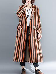 cheap -Women's Cotton Trench Coat - Striped