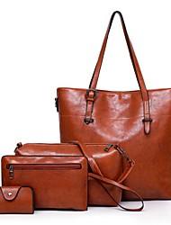baratos -Mulheres Bolsas Pele Conjuntos de saco Conjunto de bolsa de 4 pcs Ziper Vermelho / Cinzento Escuro / Marron