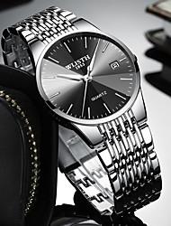 Недорогие -Муж. Наручные часы Кварцевый Нержавеющая сталь Черный / Серебристый металл Защита от влаги Календарь Секундомер Аналоговый Роскошь Мода Простые часы - / Два года / Два года