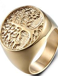 Недорогие -Муж. Midi Ring Кольцо с печаткой 1шт Золотой Титановая сталь Геометрической формы Мода Для вечеринок Повседневные Бижутерия Ретро С гравировкой дерево жизни Cool
