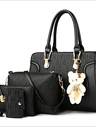 baratos -Mulheres Bolsas PU Conjuntos de saco Conjunto de bolsa de 4 pcs Urso Bege / Cinzento / Fúcsia