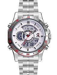 Недорогие -Муж. Спортивные часы Нарядные часы Японский Кварцевый 100 m Защита от влаги Календарь Секундомер Нержавеющая сталь Группа Аналого-цифровые Роскошь Мода Черный / Серебристый металл - Черный Серебряный