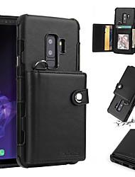 Недорогие -Кейс для Назначение SSamsung Galaxy S9 / S8 Кошелек / Бумажник для карт / Защита от удара Кейс на заднюю панель Однотонный Твердый Кожа PU для S9 / S9 Plus / S8 Plus