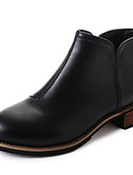 Недорогие -Жен. Ботильоны Полиуретан Осень На каждый день Ботинки На низком каблуке Ботинки Черный / Коричневый