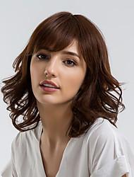 Недорогие -Человеческие волосы без парики Натуральные волосы Кудрявый Боковая часть Природные волосы Коричневый Без шапочки-основы Парик Жен. На каждый день