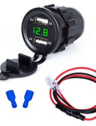 cheap -Motorcycle Car Charger 2 USB Ports for 5 V