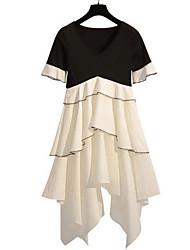 Недорогие -Жен. Классический А-силуэт Платье - Однотонный / Контрастных цветов До колена