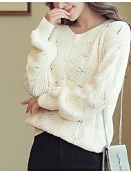 Недорогие -Жен. Классический / Уличный стиль Фонарь рукавом Пуловер - Однотонный, Вышивка