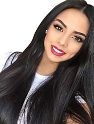 Недорогие -Натуральные волосы Лента спереди Парик Бразильские волосы Бирманские волосы Прямой Природа Черный Парик 130% Плотность волос / с детскими волосами / с детскими волосами / с детскими волосами