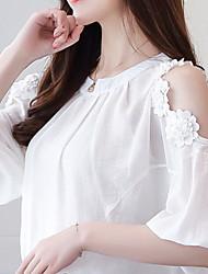 Недорогие -Жен. Аппликация / Кружевная отделка Блуза Классический Однотонный
