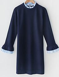baratos -Mulheres Básico Tricô Vestido - Patchwork Médio