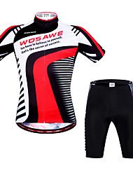 Недорогие -WOSAWE С короткими рукавами Велокофты и велошорты - Черный / красный Велоспорт Шорты / Джерси / Шорты с защитой, 3D-панель, Быстровысыхающий, Анатомический дизайн, Дышащий, Впитывает пот и влагу