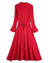 baratos -Mulheres Elegante Tricô Vestido Sólido Médio