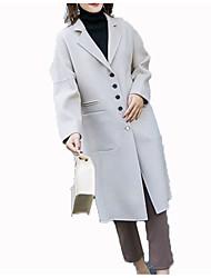 Недорогие -Жен. Пальто Рубашечный воротник Однотонный, Шерсть