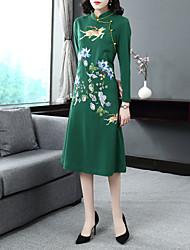 Недорогие -Жен. Винтаж / Классический А-силуэт Платье Вышивка Средней длины