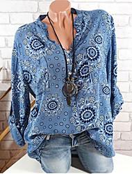 Недорогие -Жен. На выход Рубашка V-образный вырез Классический Цветочный принт